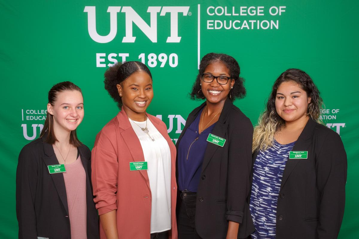 UNT College of Education recruiter Renee Foster, second from left, with the 2018 college ambassadors.