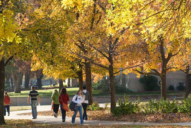Students walking through the UNT campus in the fall.