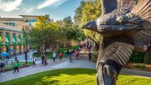 University of North Texas campus behind an eagle statue