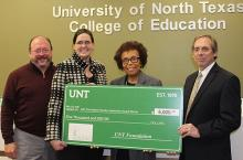 Dr. Barbara Bush is presented the 2020 UNT Foundation Faculty Leadership Award. Pictured from left are Dean Randy Bomer, UNT Provost Dr. Jennifer Cowley, Bush and Al Lockwood with the UNT Foundation.