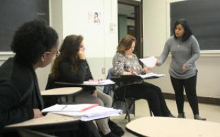 Mary Clavijo Molina leads UNT staff in a Spanish Class