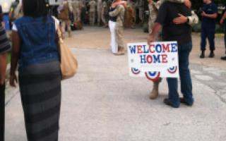 Family welcomes home members of the military returns from the Middle East